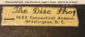 100tos#1466 The Disc Shop, 1623 Connecticut Ave., Washington, D.C. - label on record from 1951.