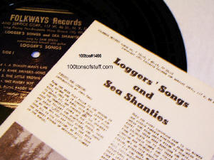 100tos#1466 Sea Shanties & Logger's Songs Album, record & pamphlet.